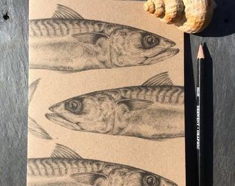 A5 kraft notebook mackerel pencil drawing