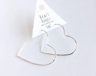 Heart Hoops, Geometric Earrings, Silver Hoops,  , Valentine Jewelry, Hoop Earrings, Valentines Day, Gift Idea, One Piece Hoop, Mothers Day