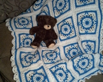 Baby crib blanket Baby blanket Lap afghan  Blue on white afghan  Baby afghan Textured afghan Crochet baby afghan  Baby boy afghan