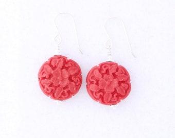 Red Cinnabar Floral Earrings