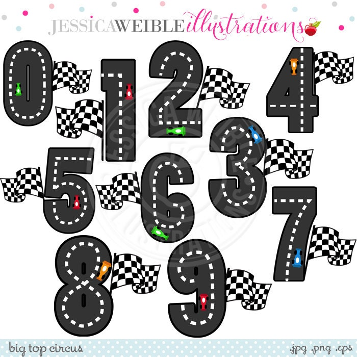 Race Track Numbers Cute Digital Clipart Commercial Use OK