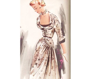 Vintage 1950s Dress Pattern Modes Royale 965 Size 12 Bust 30 French Design