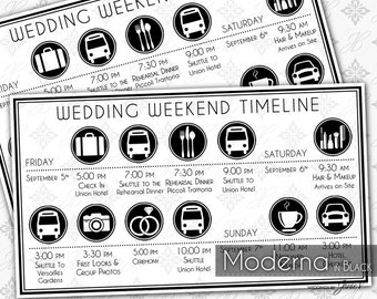 Printable Wedding Timeline Template | Editable Wedding Weekend Itinerary | Instant Download | Moderna in Black