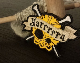 Knitting Skull Yarn Patch, Badge, Pick a Color, Knitter, Pirate Knitting Patch