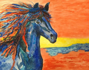 """Note Cards Pack of 4 for Equestrian lovers, teacher gifts, gifts for horse lovers Blank inside with original poem """"Untamed Spirit"""" on back"""