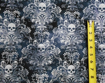 Wicked Skulls Damask in Charcoal BY YARDS Timeless Treasure Cotton Fabric