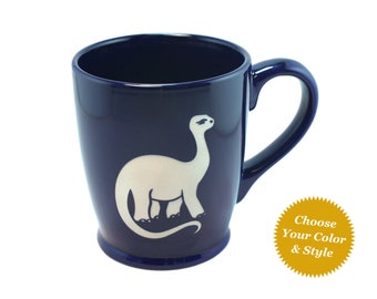 Brontosaurus Dinosaur Mug - Choose Your Cup Color
