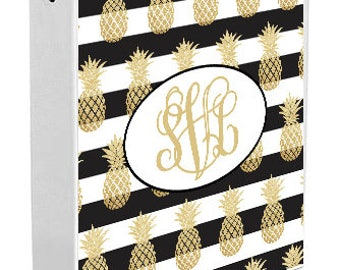 Personalized Binder Cover, Pineapple Stripes