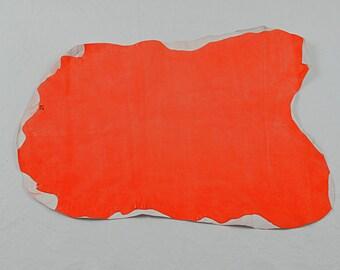 Fluorescent orange velvet lambskin leather