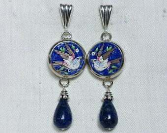 Micro Mosaic Dove Bird Earrings, Blue Lapis Lazuli, Silver, Italy Grand Tour Souvenir Jewelry