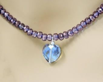 Purple lilac Czech fire polished gemstone necklace with a purple glass heart detail (Item 4004)