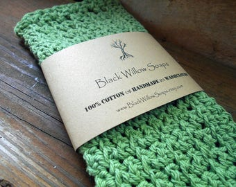 "Sage Green Soft Natural Cloth, 9x9"", Handmade Cloth, Soft Cloth, Cloth Washcloth, Fabric Washcloth, Natural Washcloth, Handmade, Cotton"