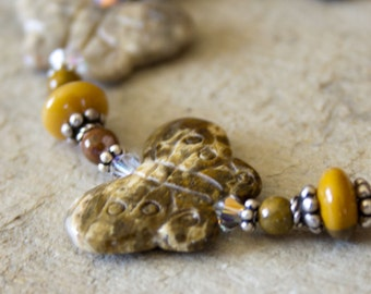Butterfly Bracelet Handmade Semiprecious boho chic mustard yellow rust olive autumn fall