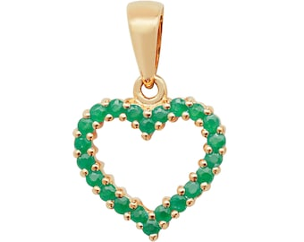 9ct Yellow Gold 0.46ct Claw Set Emerald Open Heart 1.2cm Pendant