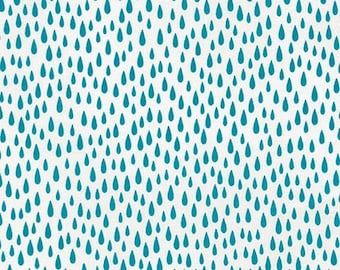 Cotton Fabric By The Yard, Pacific Raindrops, Robert Kaufman, Sewing Material, Quilting Fabric, Fat Quarter, Aqua and White Raindrop Fabric
