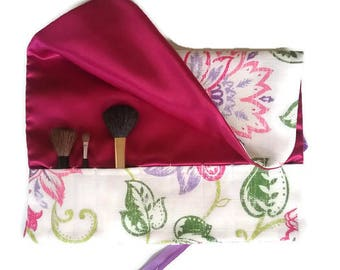 Makeup Brush Roll Purple Pink Floral Cosmetic Brush Organizer Travel Accessory