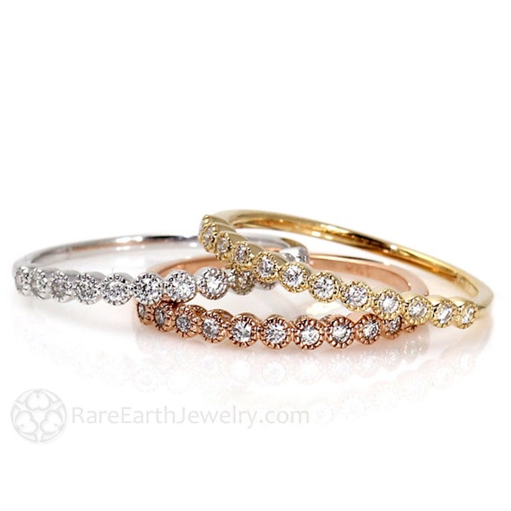 Diamond Bands Set of 3 Wedding Bands Wedding Ring Diamond Ring