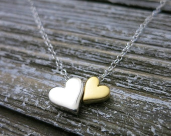 Godmother gift,Double heart necklace,Mixed metal,godparents,Gift for Mom,Mommy and me necklace,Mothers day gift,Christmas gift for Godmother