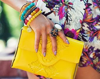 Clutch purse / clutch bag / yellow clutch purse / yellow clutch bag / clutches in colors / bright clutch with strap / crossbody clutch bag