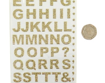 Gold Bold Glitter Sparkly Stick On Letters Pack of 55 Letters