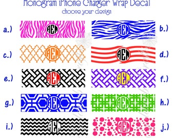 Monogram iPhone Charger Wrap Decal