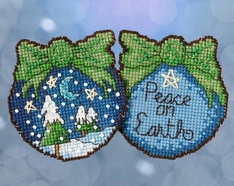 Mill Hill Sticks - Peace on Earth ST18-1714 Christmas Ornament Beaded Counted Cross Stitch Kit