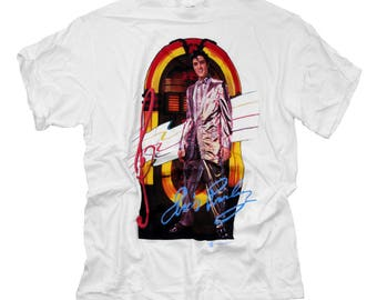 Elvis Presley  the King vintage  white t shirt  with jukebox in  size large and   x-large made in the USA