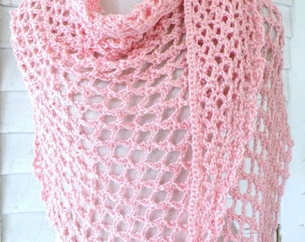Light Pink Baby Pink Seashell Pink Lacy Silk Bamboo Assymetric Triangle Scarf Shawl