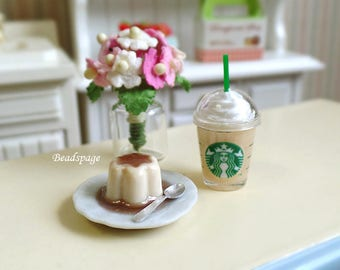 Miniature Pudding + Frappuccino Set, Drinks Dessert for 1:12 Scale Dollhouse Roombox Sylvanian-Families, DIY Craft Food Jewelry