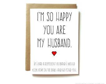 card for husband, love card, anniversary card for husband, birthday card for husband, so happy you are my husband