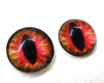 16mmPink and Brown Glass Dragon Eye Cabochons - Evil Eyes for Doll or Jewelry Making - Set of 2