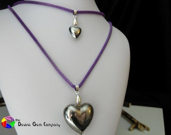 Silver Puff Heart Pendant with Chain
