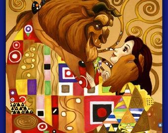 BUY 2, GET 1 FREE! Beauty and the Beast Kiss Imitation Gustav Klimt Art 249 Cross Stitch Pattern Counted Cross Stitch Chart 159242