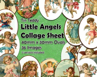 Little Angels Digital Collage Sheet  - 40mm x 30mm angel ovals  - 36 different vintage angel images, perfect for jewelry Mixed Media Ovals