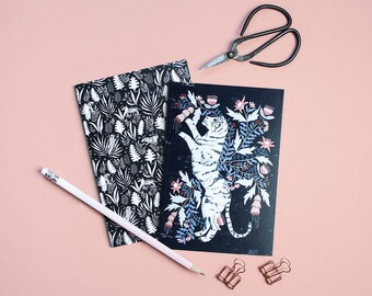 Floral Tigers Pocket Notebooks - Set of Two Lined // Plain A6 Notebooks