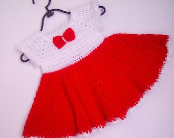 Crochet baby dress, Christmas baby dress,  Crochet baby, red white baby dress, Baby Santa dresses, Newborn dresses, baby photo prop