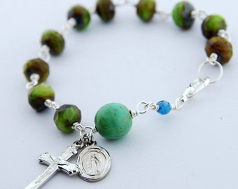 Faceted Czech Glass Green Rosary Bracelet, wire wrapped