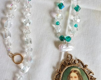 Upcycled Vintage Elements Cameo Necklace:   Clear & Emerald Green Crystal Beads, Natural Pearl