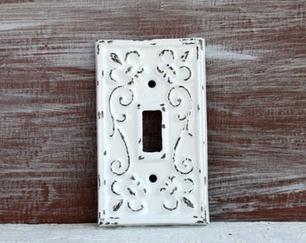 Light Switch Cover, Single Light Switch Plate, White Distressed Lightswitch Cover Cast Iron Lightswitch Plate Shabby Cottage Chic