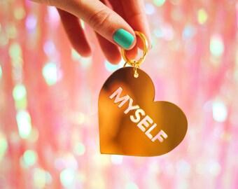 Love Myself laser-cut mirrored perspex bag charm GOLD