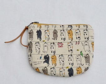Laundry Cats Padded Round Zipper Pouch / Coin Purse / Gadget / Cosmetic Bag - READY TO SHIP