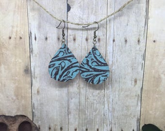 Genuine Leather Earrings, Leather Teardrops, Embossed Leather, Joanna Inspired Earrings, Teal Leather Earrings