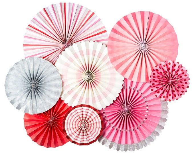Light Pink Decor, Pink Party Fans, Pink White and Silver Fans, Light Pink Party Decor, Rosettes Backdrop, Pom Wheels and Rosettes,