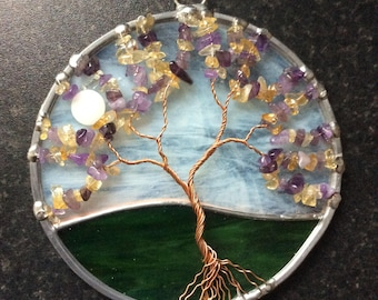 Amethyst and citrine tree of life suncatcher