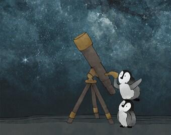 Penguins and Stars Nursery Art Print - Arctic Animals Kids Room Decor