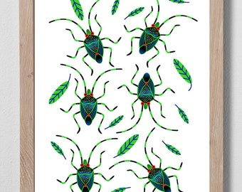 Shield Bugs Digital Print A4