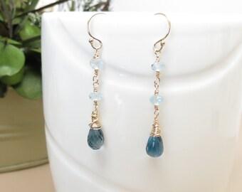 London Blue Topaz, Sky Blue Topaz Earrings, December Birthstone Jewelry, Blue Gemstone Earrings In Gold Fill, Bridal Earring, Something Blue
