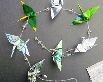 Hanging Origami Cranes chain of 7 |FREE SHIPPING| bright and sage green colorful recycled-upcycled-reclaimed-repurposed paper #c310 marlisa