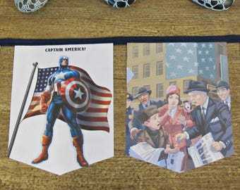 Captain America Birthday Party Bunting - Nursery Banner Superhero The Avengers - Baby Shower Supplies Homewares Decor Decoration Boys Girls