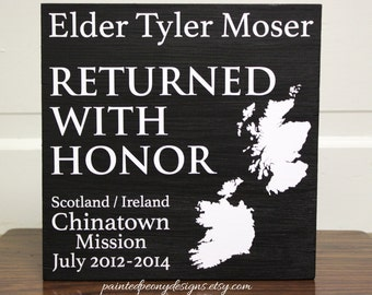 Returned with Honor + mission | Custom missionary wood sign saying Vinyl home decor, Mormon, LDS decor, returned LDS missionary sign